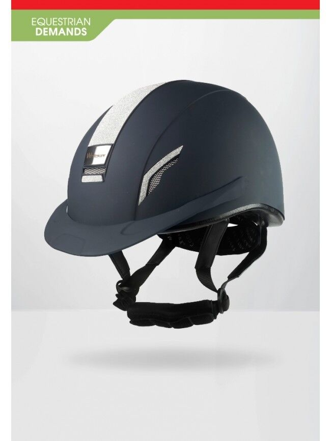 John Whitaker VX2 Brillante Casco Equitación Sombrero-competencia aprobado-Azul Marino-Negro