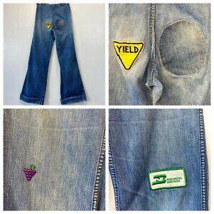 Vintage Bell Bottoms Jeans 32x33 Yield Burlington RR Patches 1970s Scovill P6