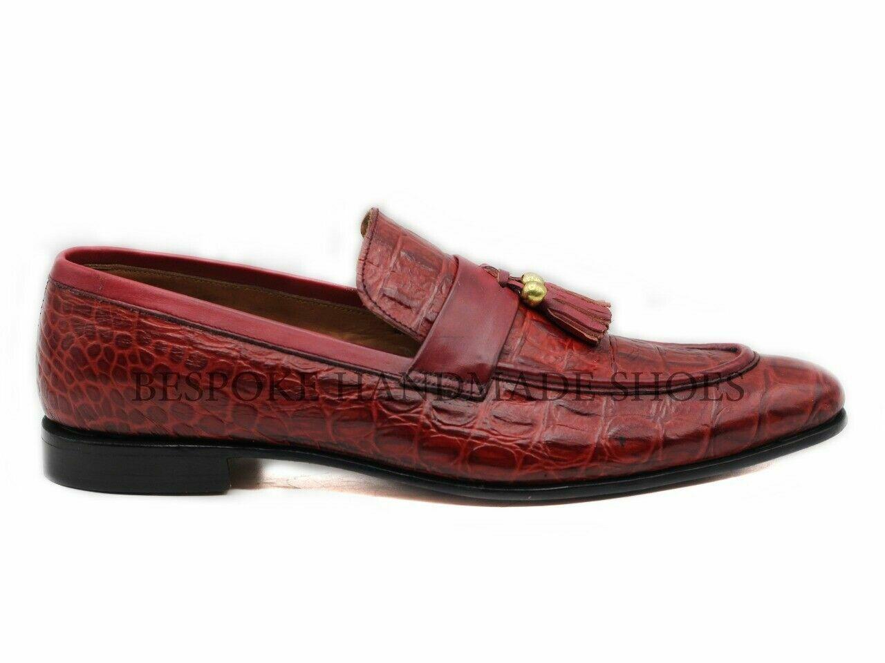 Hecho a mano para hombres Cuero Genuino Rojo Ternegro Impresión De Cocodrilo resbalón en el zapato flecos