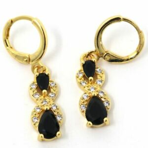 Details About Hand Carved Black Onyx Earrings Women Jewelry 14k Yellow Gold Filled Free Ship