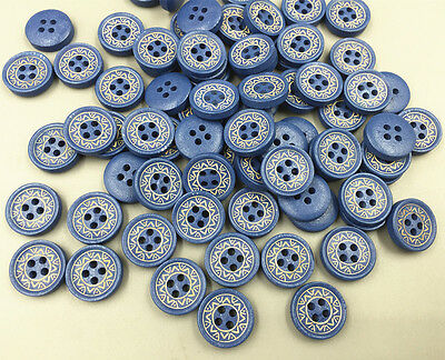 Blue 4-holes Wooden Buttons Scrapbooking sewing accessories Crafts diy 15mm