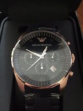 New In Box Emporio Armani AR5905 Black & Rose Gold Chronograph Men's Watch