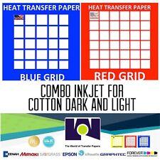 Combo Heat Transfer Inkjet Paper Tshirt 20 Sh Each Dark Amp Red Grid 85x11