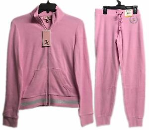 Juicy-Couture-Micro-Terry-Tracksuit-Set-2-Piece-Jacket-amp-Pants-Bubble-Pink-New