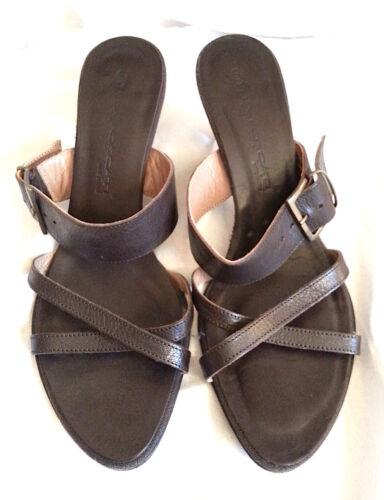 Square leather Wth Ex 6 Condition Heel Mule Lea All Kitten Brown Foscati g70axZw