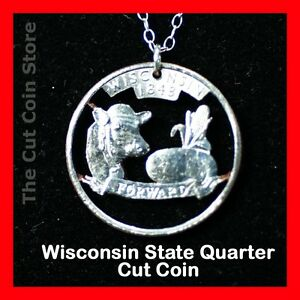 Wisconsin-25-WI-Quarter-Cut-Coin-Necklace-Badger-State-America-039-s-Dairy-Land