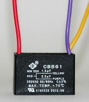 Ceiling Fan Capacitor Cbb61 1.5uf+2.5uf 3 Wire