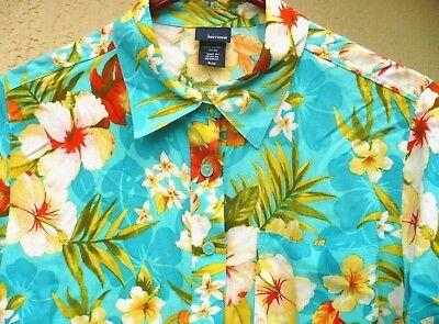 ON SALE Women/'s Light Blue Hawaiian shirt Blouse from 90/'s
