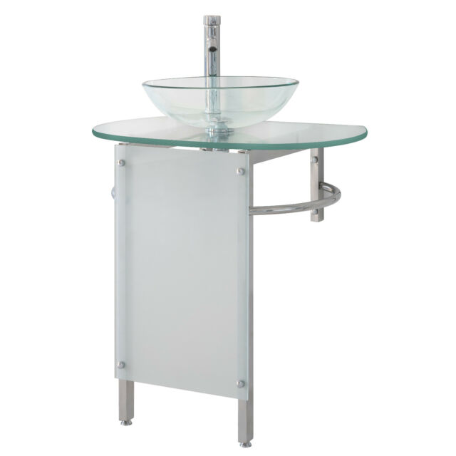 Modern 30 Bathroom Vanities Pedestal Clear Vessel Glass Bowl Sink