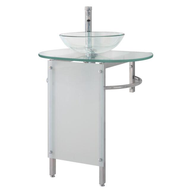 Modern 30 Bathroom Vanities Pedestal Clear Vessel Glass Bowl Sink