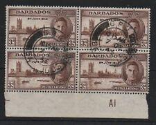 Barbados 1946 victoria 3d SG263a Kite defecto Variedad bien usada en bloque 4 sellos