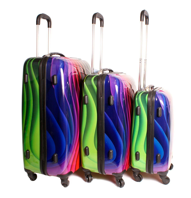 ONDULATA Multi colore Arcobaleno prosaguire BAGAGLI VALIGIE CON 4 RUOTE Set di 3
