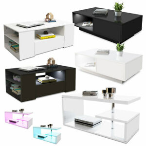 Details About Modern High Gloss Coffee Tee Table Storage Living Room Furniture Rgb Led Light