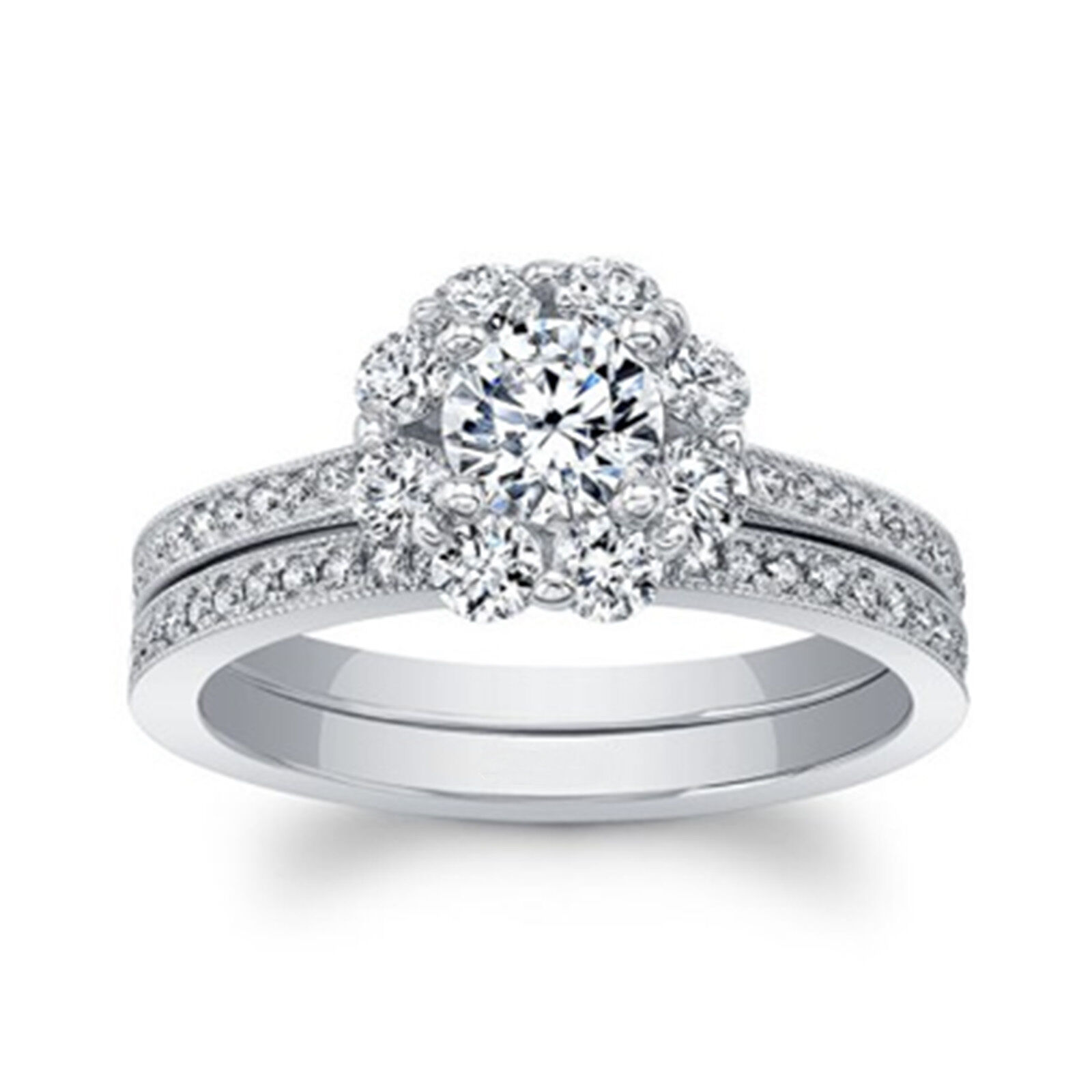 1.26 Ct Diamond Engagement Rings Sets 14kt White gold Brilliant Round Size 6 7