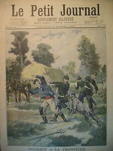 ALSACE-FRONTIERE-CHIEN-HOMECOURT-ALLEMAND-MARIAGE-DU-GEANT-LE-PETIT-JOURNAL-1897