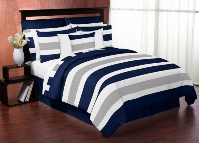 Wonderful Sweet Jojo Designs Modern Navy Grey Kids Twin Bedding Set For Teen Boys  Bedroom