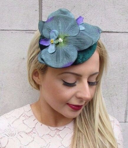 Dark Forest Green Orchid Flower Fascinator Pillbox Hat Races Hair Clip Vtg 4207