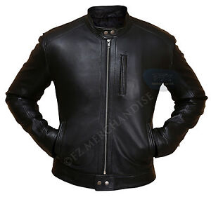 Men S Biker Hunt Black Leather Jacket Ebay