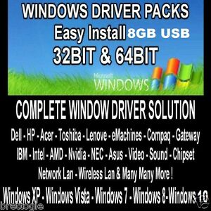 Details about LAPTOP DESKTOP WINDOWS DRIVERS TOSHIBA DELL ACER LENOVO  COMPAQ IBM HP 8GB USB