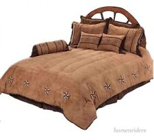 Rustic Complete Bedroom Bedding Set - Queen Size - Fawn Tan and Brown - 7 Pieces