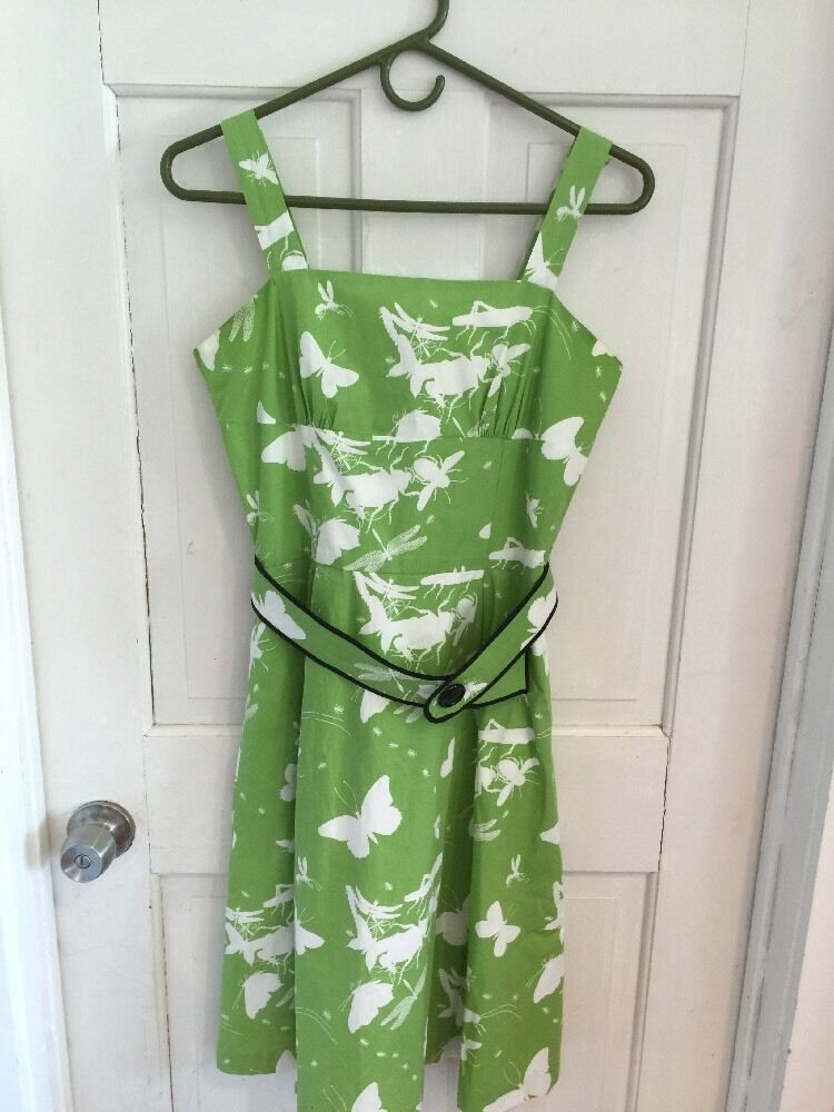 Modcloth Kiwi Green Bug Insect Dress Dress Dress Excellent Condition 6 2910c2