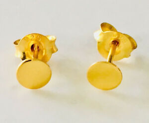 18K-Gold-on-925-Sterling-Silver-Flat-Circle-Stud-Earrings-Disc-Women-Men-Girls