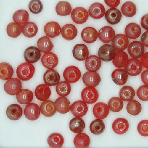 Made in India. Pack of 50 Glass Beads Red Luster Round 6mm