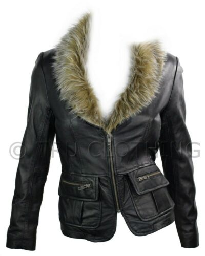 Ladies Real New Vintage Short Black Leather Jacket Coat With Fur Collar