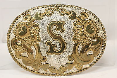 Crumrine Belt Buckle Lg Oval 'S' Initial Heavy Silverplate Over Jewlers Bronze