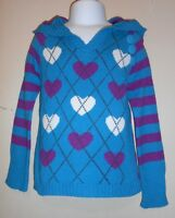 The Childrens Place Girls Wool Blend Hooded Pullover Heart Sweater Teal Xs/4