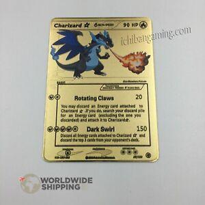 Carte-Pokemon-Gold-Dracaufeu-Shiny-Charizard-Metal-Card-Fan-Made-GX-EX