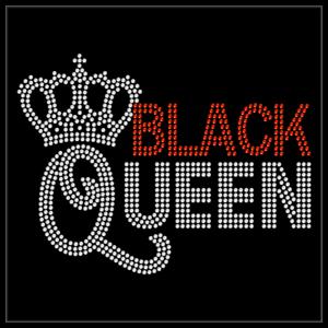 Crown Tiara Black Queen Black Pride Rhinestone Bling Transfer Hot Fix Iron On