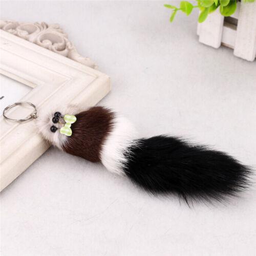 Fashion fox fur Pompon Keychain Animal Mouse Key Chain Car Hanging*Key Ring LY
