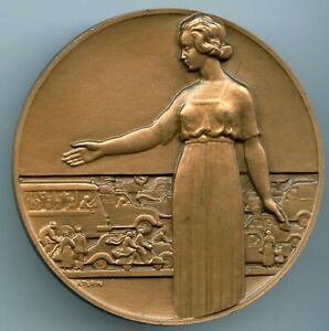 ART-DECO-DRIVING-PROTECTIONS-BRONZE-MEDAL-BY-PIERRE-TURIN-1970-72MM-187G