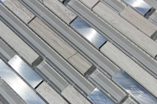 SILVER STREAK  Aluminum Mosaic Tile Grey Marble Glass  Backsplash Bar Wall Tiles