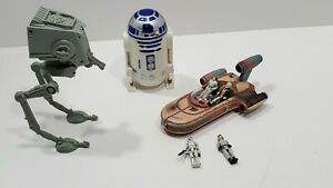 Vintage-Star-Wars-Toy-Micro-Machines-R2D2-Luke-Car-Playset-Galoob-Lot-FIgures