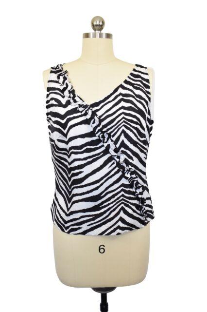 Neiman Marcus Silk Blouse Sz 6 Black White Zebra Animal Print Sleeveless Ruffle