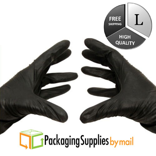 Large 200 Pieces Black Nitrile Gloves 3.5 Mil Powder-Free Industrial Grade Size