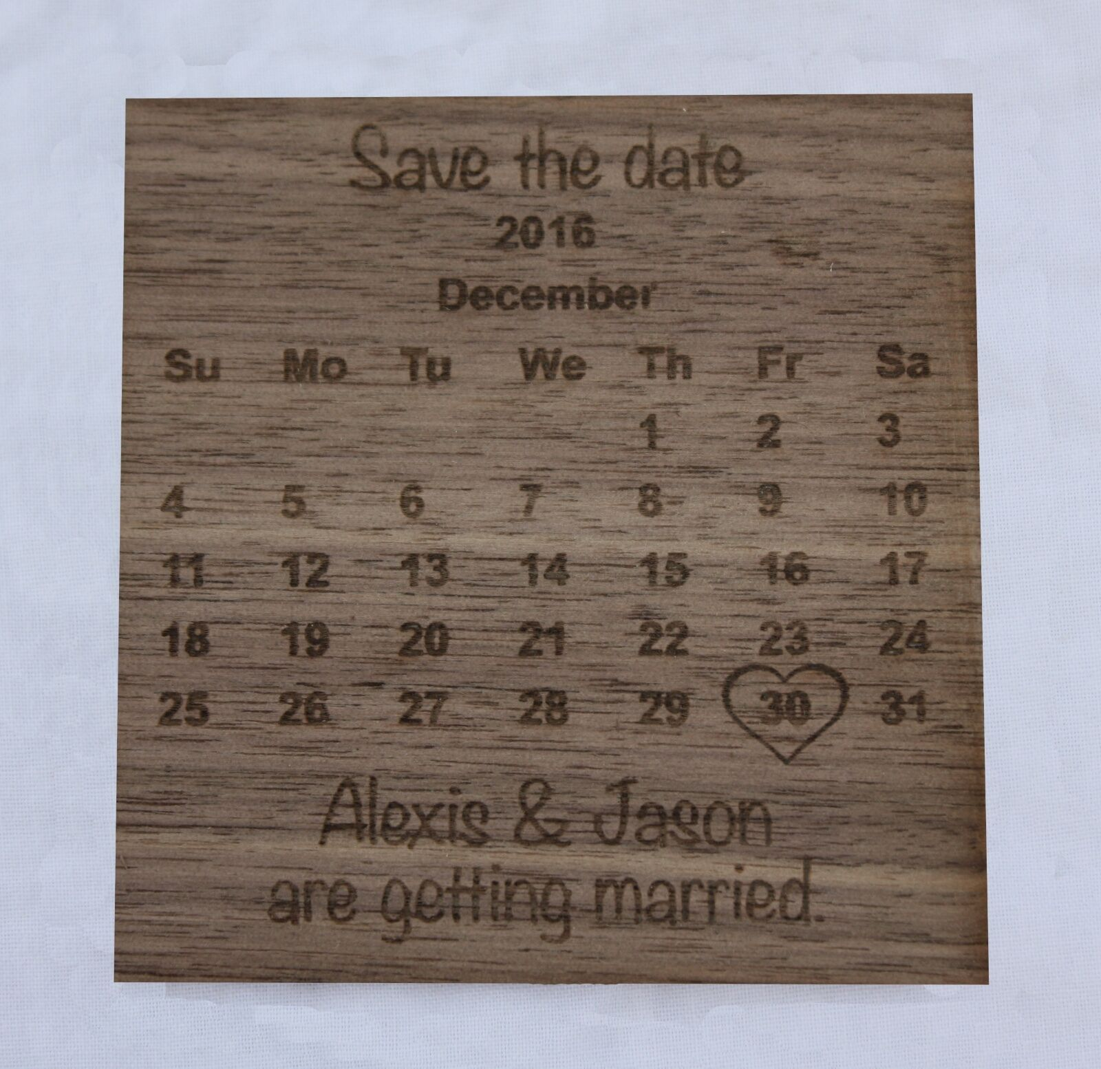 Personalised Wooden Save the Date Date Date wedding fridge magnets - choice of 3 woods. 308382