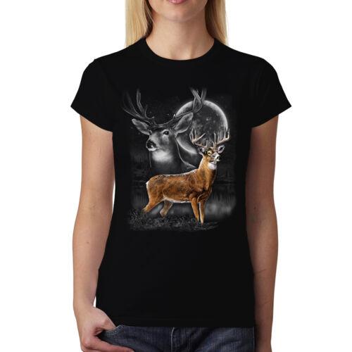 Hirsch Mondschein Damen T-shirt XS-3XL Neu