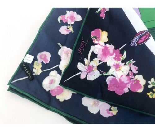 PURE SILK Bandana Women Head Neck Hair Wrap Ponytail Scarf Blue Pink Floral