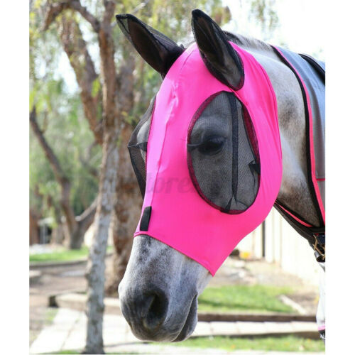 Horse Fly Mask Eyes Ears Anti-UV Face Mesh Soft Cotton Protection Insect Bites