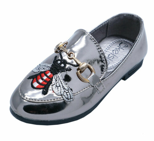 GIRLS KIDS CHILDRENS SLIP-ON PEWTER PUMPS SMART FLAT LOAFERS SHOES BROGUES 8-2
