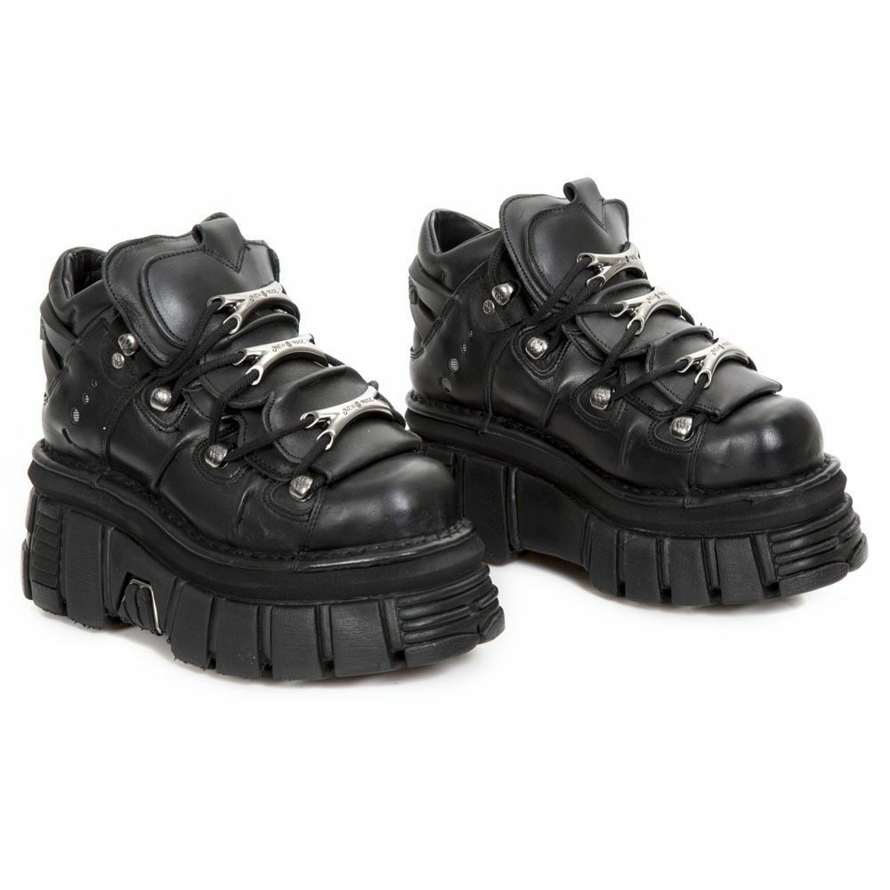 New Rock M.106-S29 Unisex Metallic Black Leather Biker Gothic Classic shoes Boot