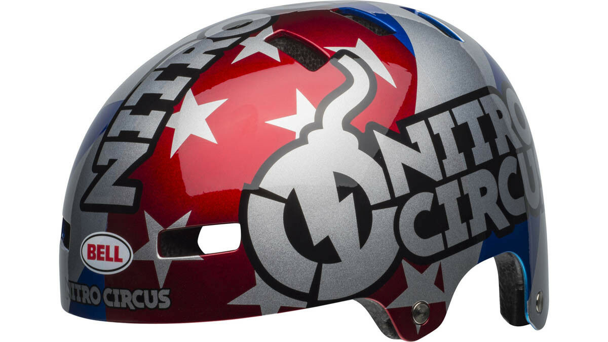 Bell local BMX Dirt bicicleta casco Nitro Circus rojo Color plata 2019