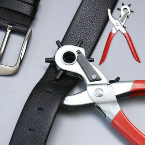 """CARD FABRIC RUBBER NYLON 9/"""" REVOLVING HOLE PUNCH PLIER LEATHER BELTS"""