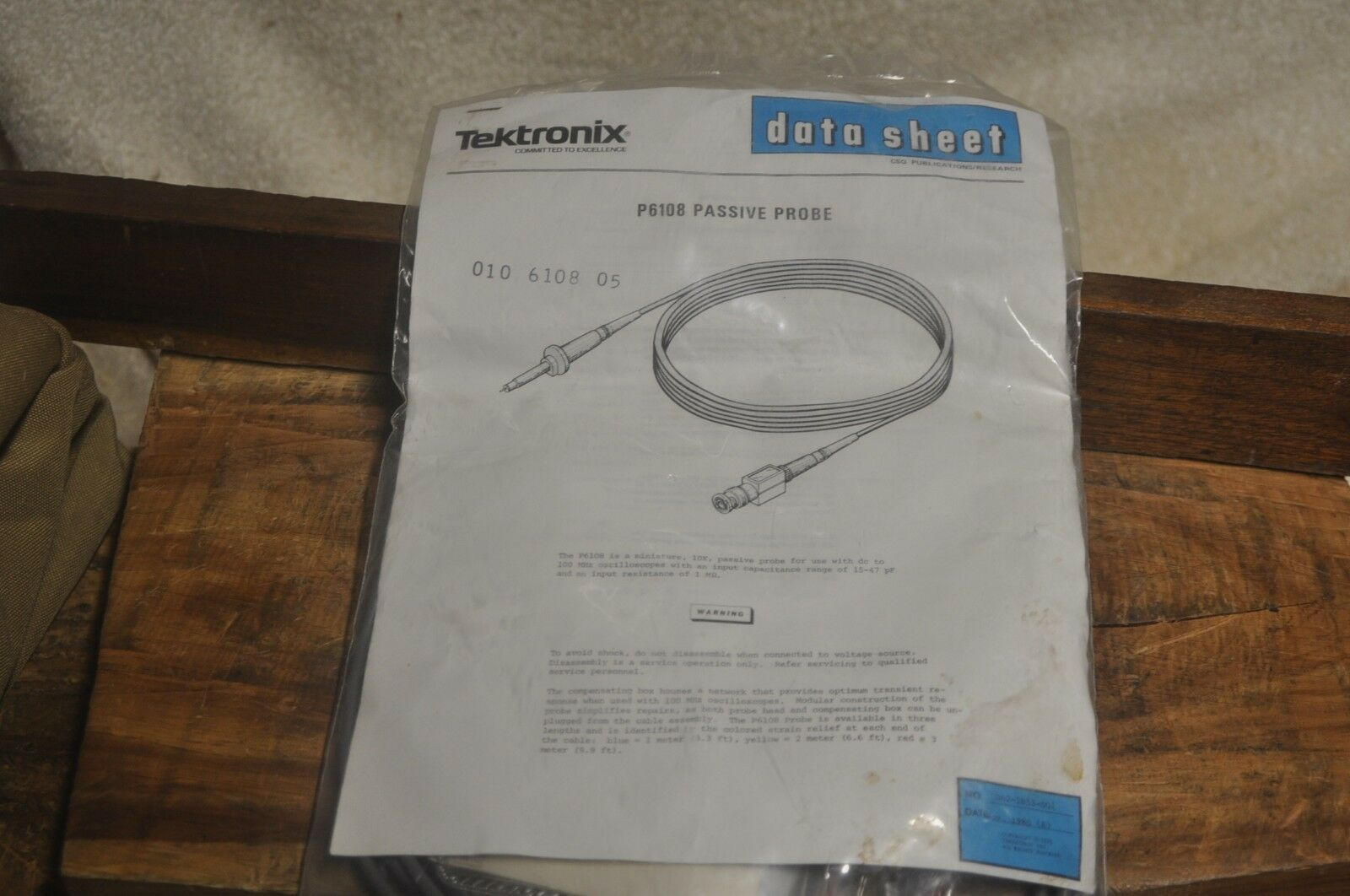 TEKTRONIX PROBE P6106 10X 13pF 10Mohm 2M...YELLOW...NO CLAMP.