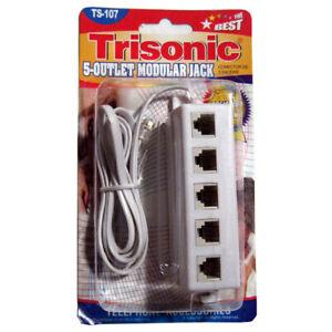 5-Outlet-Modular-Phone-Jack-Telephone-Line-Adapter-Splitter-Cables-DSL-Modem-NEW