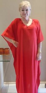 Long-Kaftan-Dress-Classic-Boho-Chiffon-Crepe-sequined-neck-Plus-Size-16-24-New