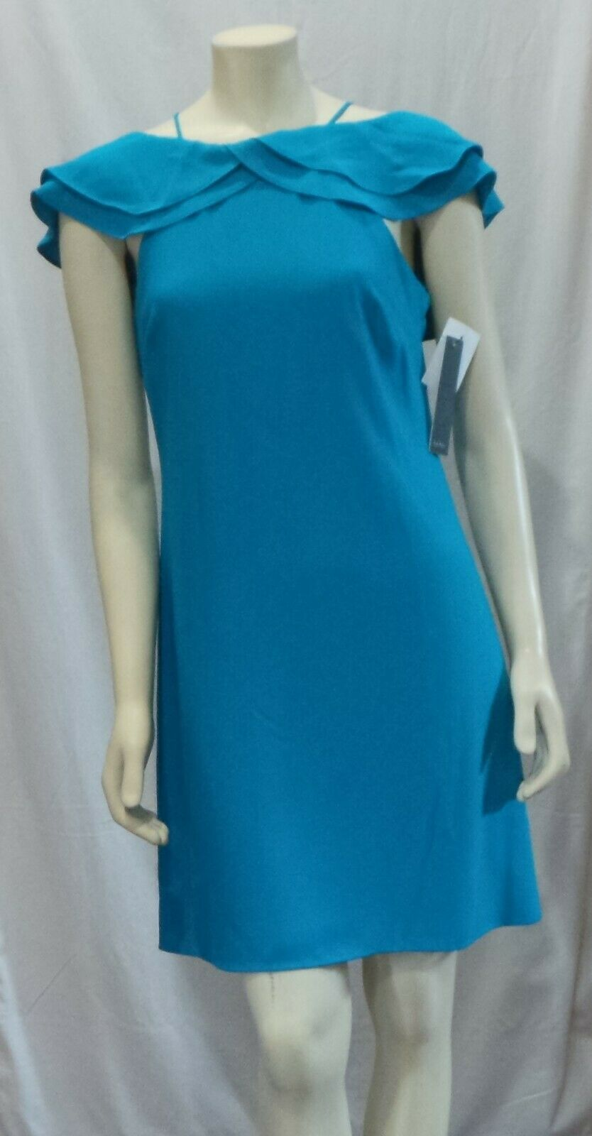 NICOLE MILLER NEW YORK TIErot RUFFLE COLD SHOULDER TURQUOISE DRESS Größe 6